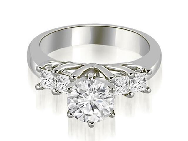 0.90 cttw. Princess and Round Cut Diamond Engagement Ring in 14K White Gold