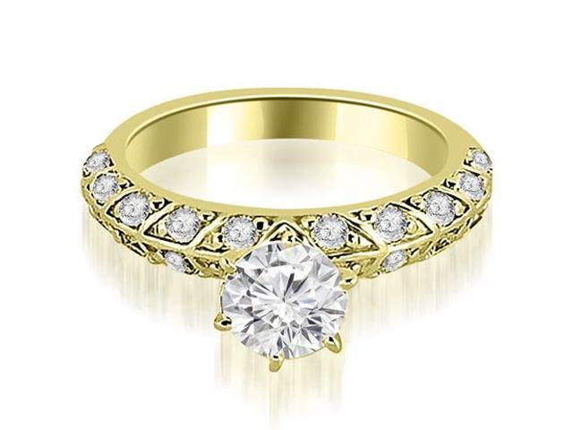 1.35 cttw. Antique Round Cut Diamond Engagement Ring in 14K Yellow Gold