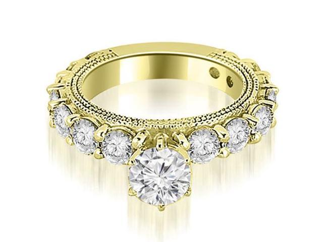 2.10 cttw. Antique Round Cut Diamond Engagement Ring in 14K Yellow Gold