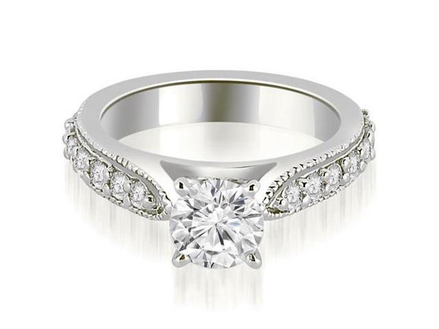 1.45 cttw. Cathedral Round Cut Eternity Diamond Engagement Ring in 18K White Gold