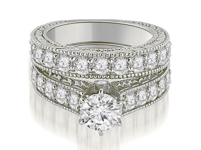 2.65 cttw. Antique Cathedral Round Cut Diamond Engagement Set in 14K White Gold