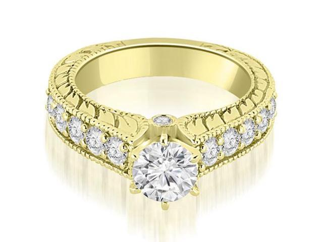 1.40 cttw. Antique Cathedral Round Cut Diamond Engagement Ring in 18K Yellow Gold