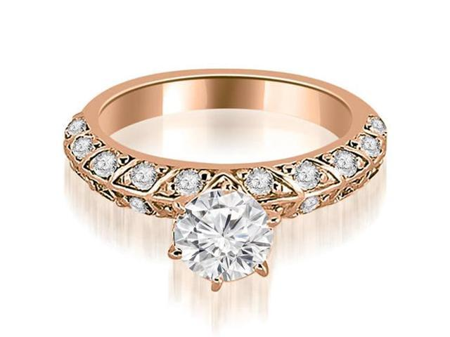 0.95 cttw. Antique Round Cut Diamond Engagement Ring in 18K Rose Gold