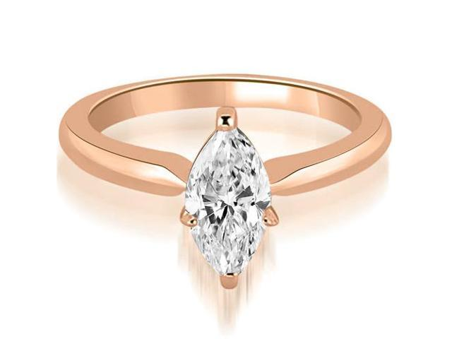 0.50 cttw. Classic Solitaire Marquise Cut Diamond Engagement Ring in 18K Rose Gold