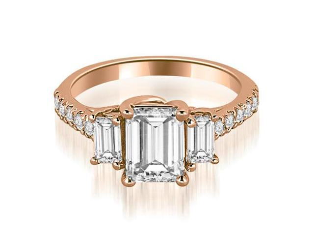 1.65 cttw. Lucida Three-Stone Diamond Emerald Cut Engagement Ring in 18K Rose Gold