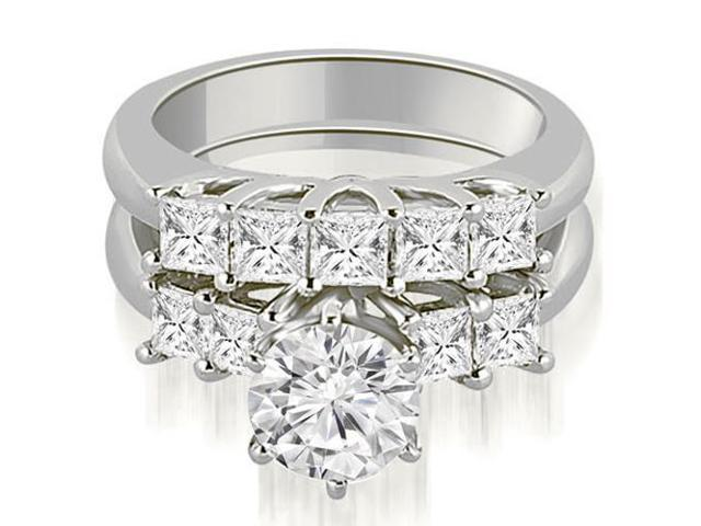 1.75 cttw. Princess and Round Cut Diamond Engagement Bridal Set in 14K White Gold