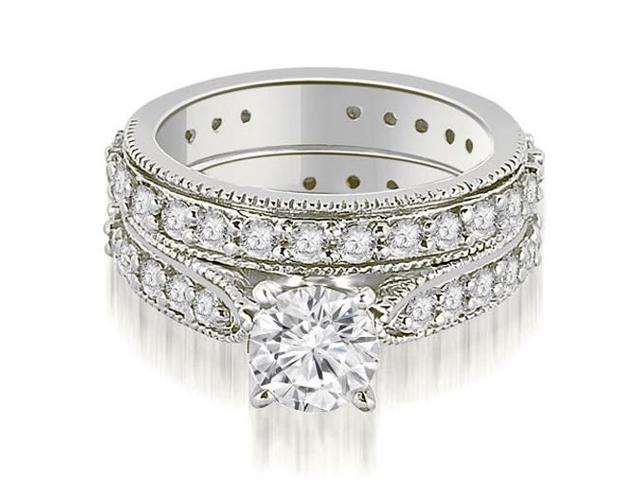 1.85 cttw. Cathedral Round Cut Eternity Diamond Engagement Matching Set in 18K White Gold