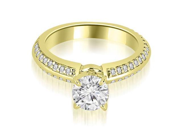 0.90 cttw. Knife Edge Round Cut Diamond Engagement Ring in 14K Yellow Gold