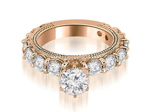 2.10 cttw. Antique Round Cut Diamond Engagement Ring in 18K Rose Gold