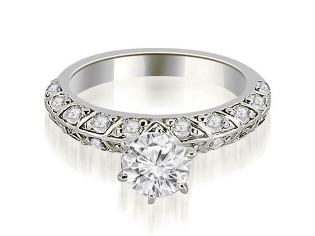 1.60 cttw. Antique Round Cut Diamond Engagement Ring in 18K White Gold