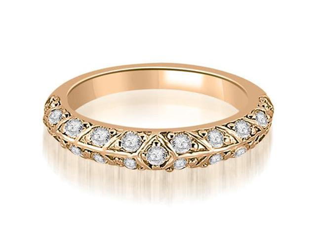 0.63 cttw. Antique Round Cut Diamond Wedding Band in 14K Rose Gold