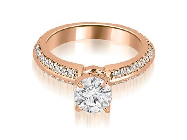 1.05 cttw. Knife Edge Round Cut Diamond Engagement Ring in 18K Rose Gold