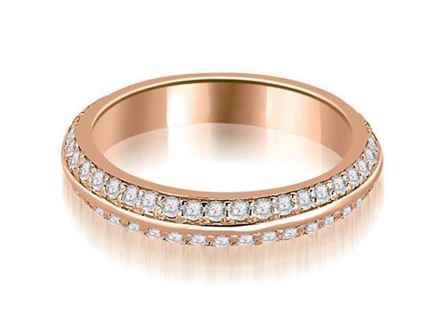 0.40 cttw. Knife Edge Round Cut Diamond Wedding Band in 18K Rose Gold