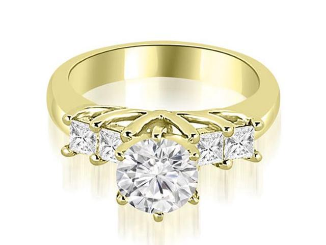 1.40 cttw. Princess and Round Cut Diamond Engagement Ring in 18K Yellow Gold