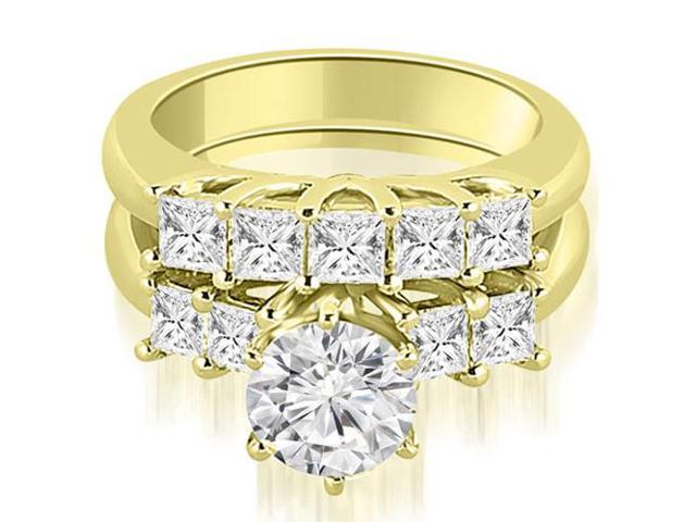 1.50 cttw. Princess and Round Cut Diamond Engagement Bridal Set in 14K Yellow Gold
