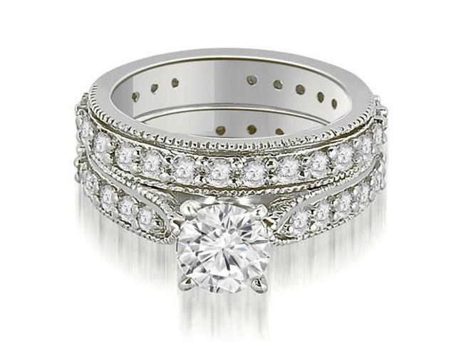 2.00 cttw. Cathedral Round Cut Eternity Diamond Engagement Matching Set in 14K White Gold