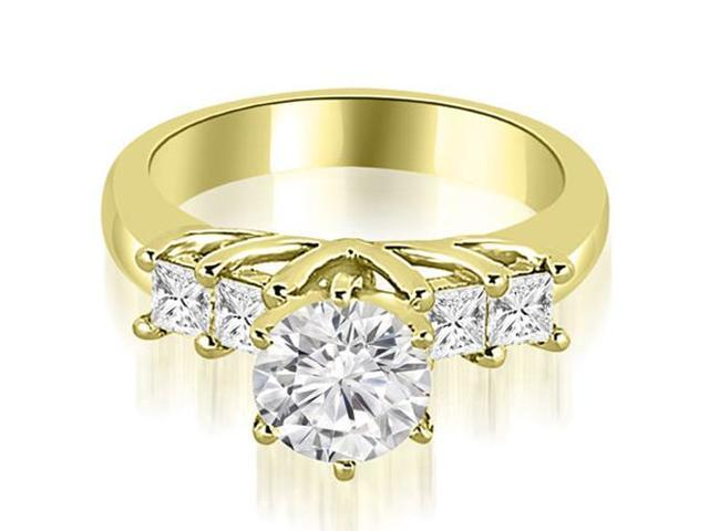 0.90 cttw. Princess and Round Cut Diamond Engagement Ring in 14K Yellow Gold