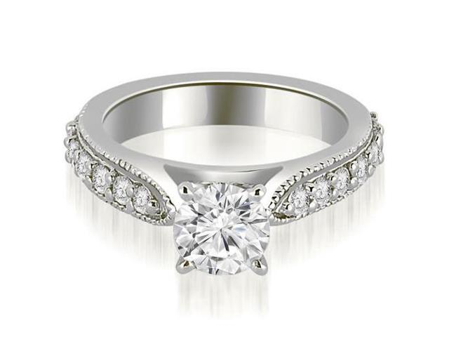 1.45 cttw. Cathedral Round Cut Eternity Diamond Engagement Ring in 14K White Gold