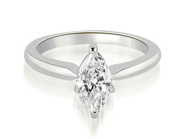 0.45 cttw. Classic Solitaire Marquise Cut Diamond Engagement Ring in 18K White Gold