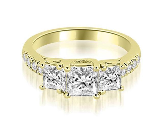 1.30 cttw. Lucida Three-Stone Princess Cut Engagement Ring in 18K Yellow Gold