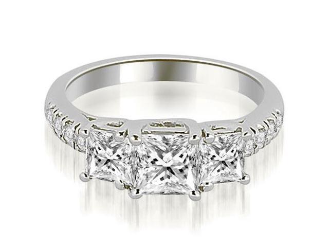 1.05 cttw. Lucida Three-Stone Princess Cut Engagement Ring in 18K White Gold