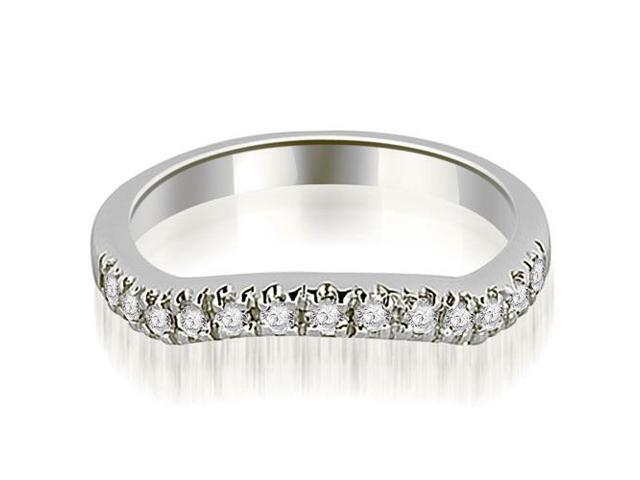 0.35 cttw. Curved Round Cut Wedding Band in 18K White Gold