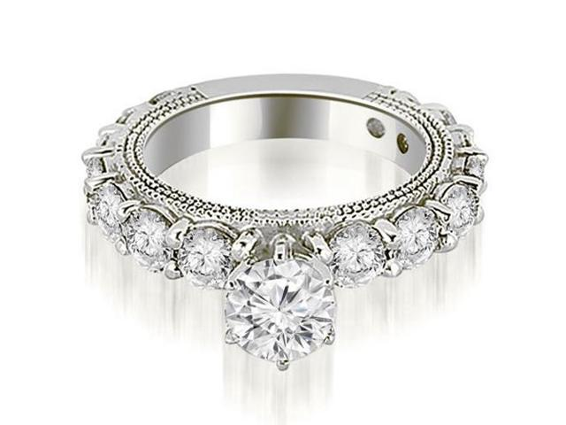 2.20 cttw. Antique Round Cut Diamond Engagement Ring in 18K White Gold