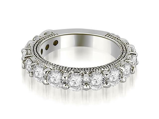 1.90 cttw. Antique Round Cut Diamond Wedding Band in 18K White Gold