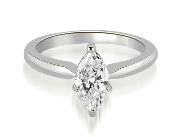 0.50 cttw. Classic Solitaire Marquise Cut Diamond Engagement Ring in 14K White Gold