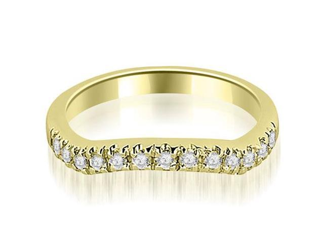 0.35 cttw. Curved Round Cut Wedding Band in 18K Yellow Gold