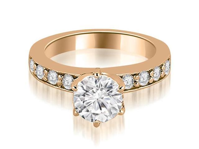 0.90 cttw. Round Cut Diamond Engagement Ring in 14K Rose Gold