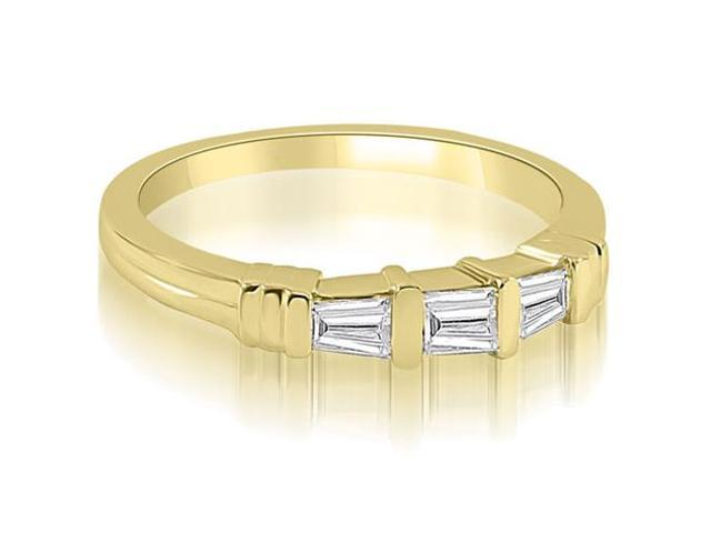 0.25 cttw. 3-Stone Bar Set Baguette Diamond Wedding Ring in 14K Yellow Gold