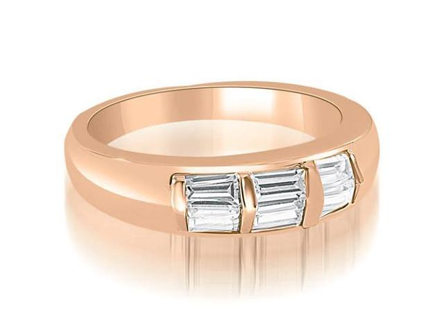 0.70 cttw. Bar Set Baguette Diamond Wedding Band in 14K Rose Gold (VS2, G-H)