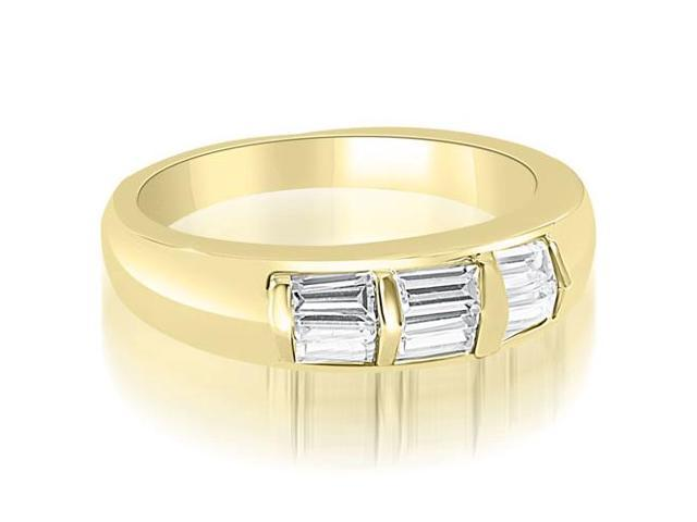 0.70 cttw. Bar Set Baguette Diamond Wedding Band in 18K Yellow Gold