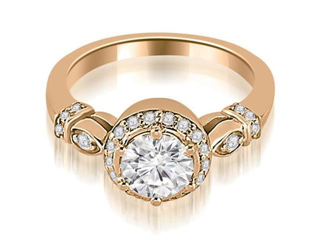 0.70 cttw. Antique Round Cut Diamond Engagement Ring in 14K Rose Gold
