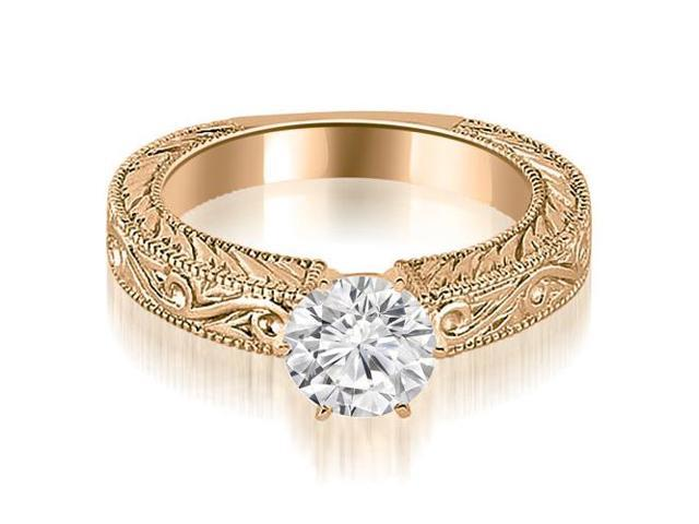 0.35 cttw. Antique Round Cut Diamond Engagement Ring in 14K Rose Gold