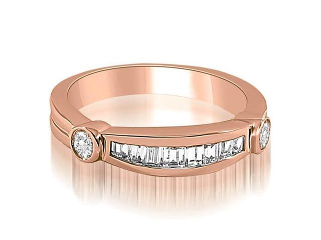 0.60 cttw. Channel Baguette and Round Diamond Wedding Band in 18K Rose Gold