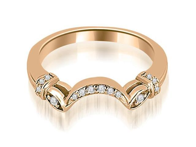 0.07 cttw. Antique Round Cut Diamond Wedding Band in 14K Rose Gold