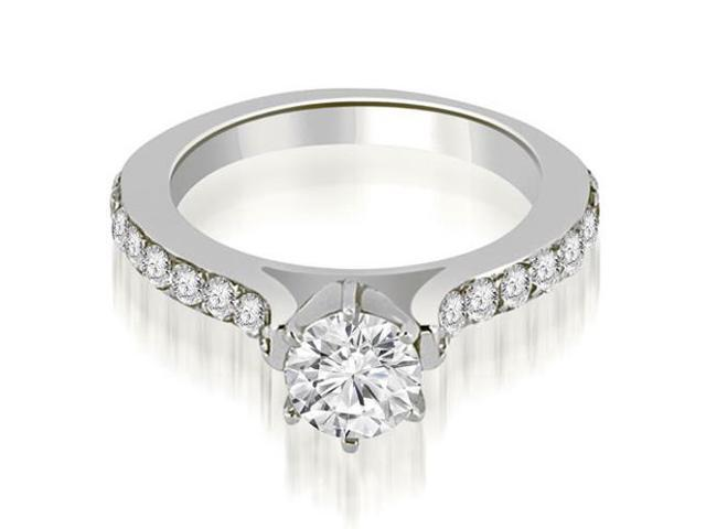 1.00 cttw. Cathedral Round Cut Diamond Engagement Ring in 18K White Gold