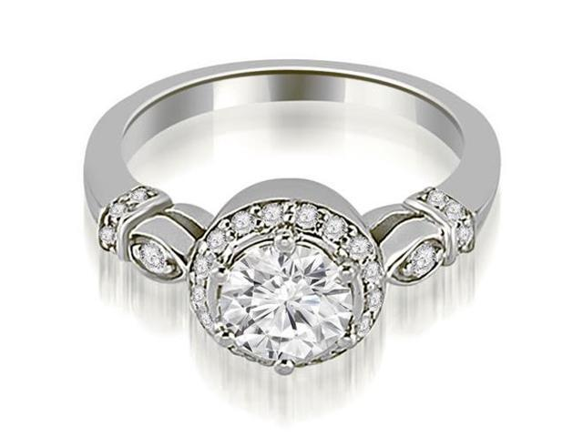0.70 cttw. Antique Round Cut Diamond Engagement Ring in 14K White Gold