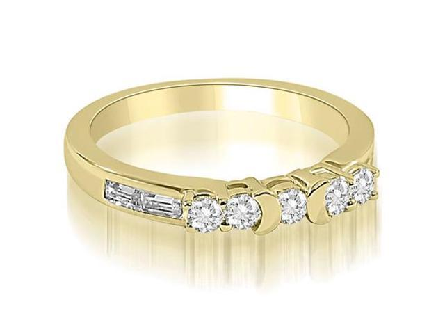 0.60 cttw. Round and Baguette Diamond Wedding Band in 18K Yellow Gold