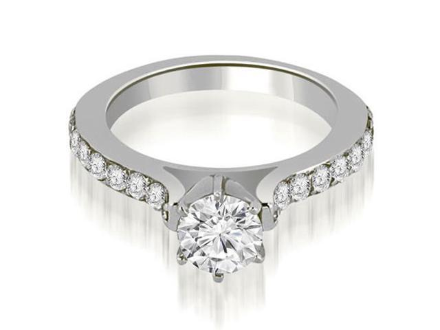 1.55 cttw. Cathedral Round Cut Diamond Engagement Ring in 14K White Gold