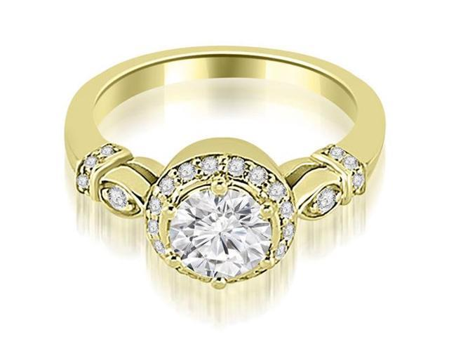 1.20 cttw. Antique Round Cut Diamond Engagement Ring in 18K Yellow Gold