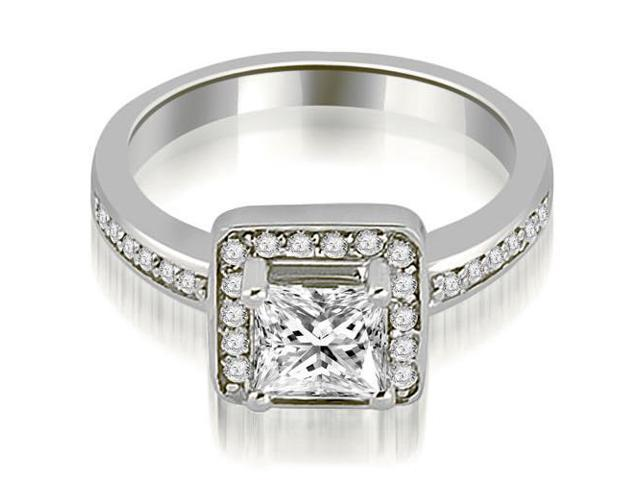 0.65 cttw. Halo Princess and Round Cut Diamond Engagement Ring in 14K White Gold