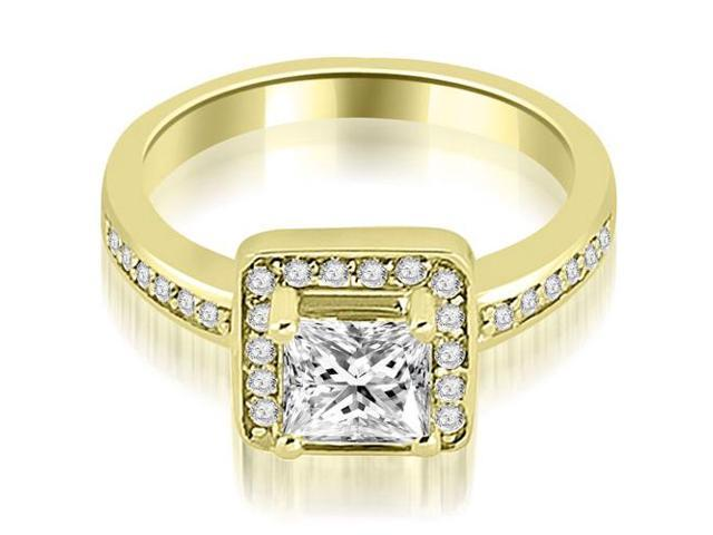 1.05 cttw. Halo Princess and Round Cut Diamond Engagement Ring in 18K Yellow Gold