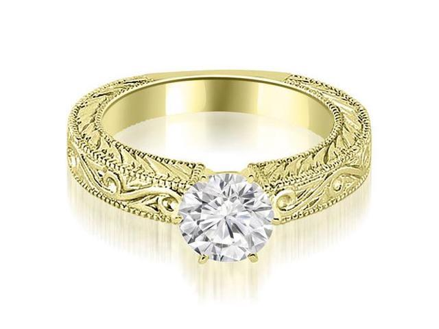 0.50 cttw. Antique Round Cut Diamond Engagement Ring in 18K Yellow Gold