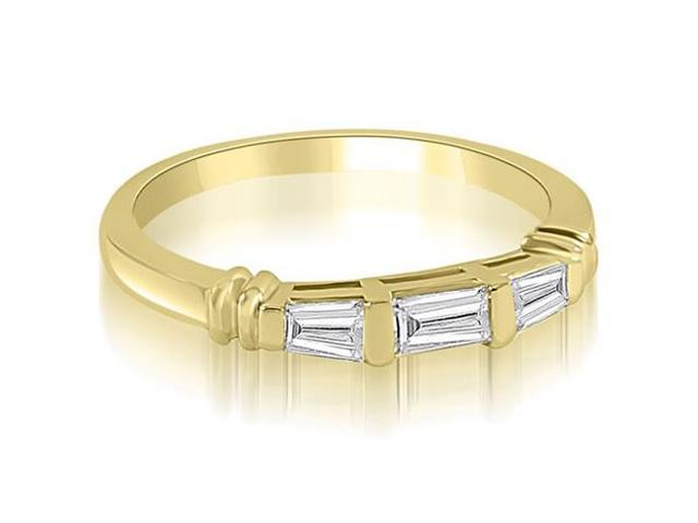 0.25 cttw. 3-Stone Bar Set Baguette Diamond Wedding Ring in 14K Yellow Gold (SI2, H-I)
