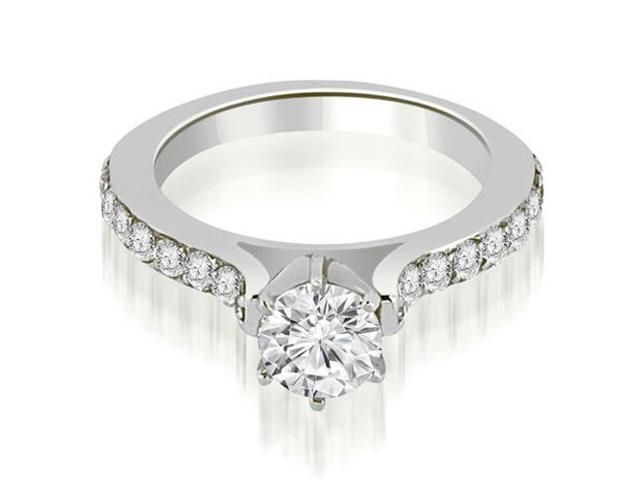 1.05 cttw. Cathedral Round Cut Diamond Engagement Ring in Platinum