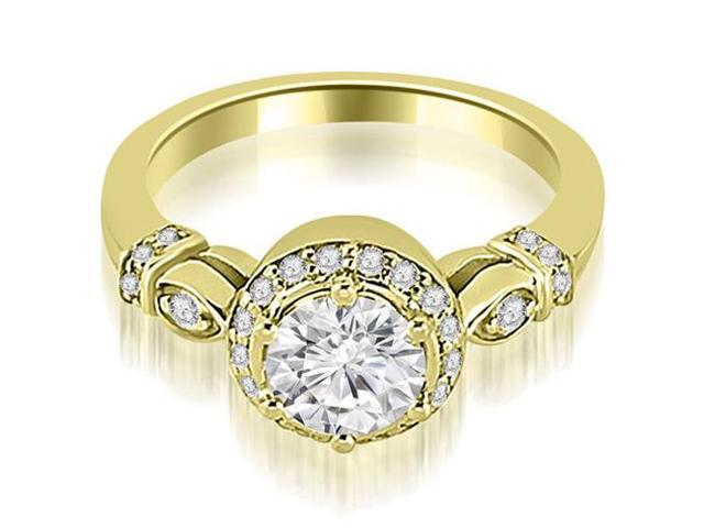 0.95 cttw. Antique Round Cut Diamond Engagement Ring in 14K Yellow Gold