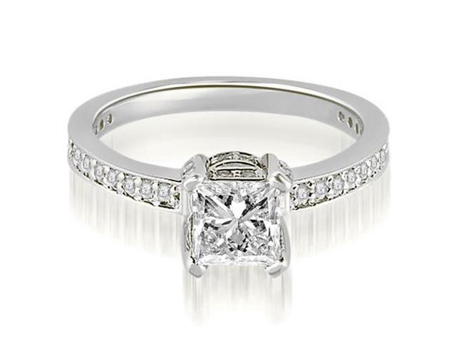 0.75 cttw. Princess And Round Cut Diamond Engagement Ring in Platinum